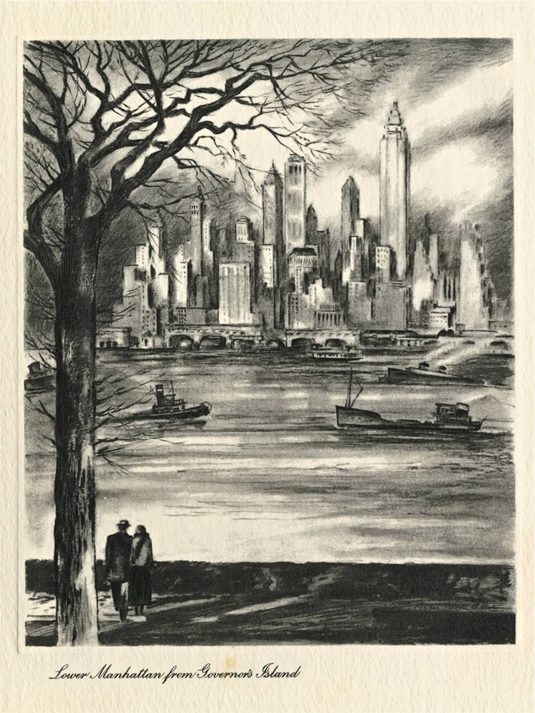New York, cartolina di Mildred Thompson ad Alberti,1957